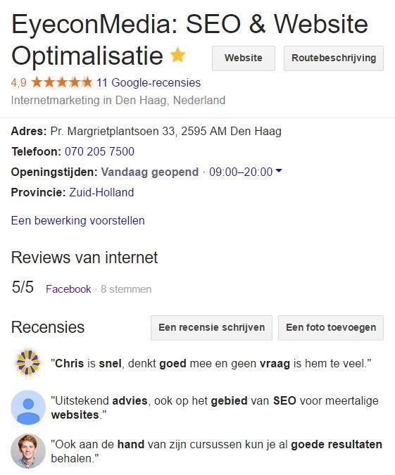 Voorbeeld van Google recencies