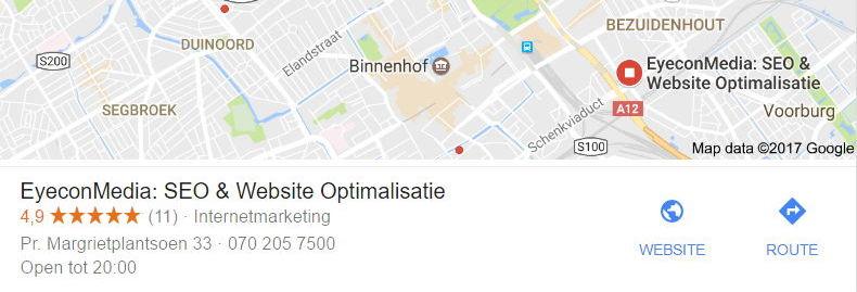Voorbeeld Google Business voor SEO Den Haag