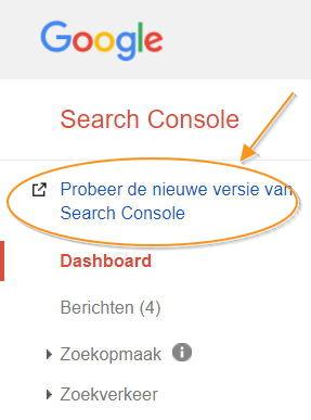 Probeer de nieuwe versie van Search Console (screenshot)